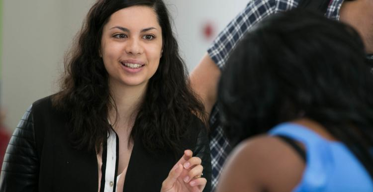 Young woman at a conference