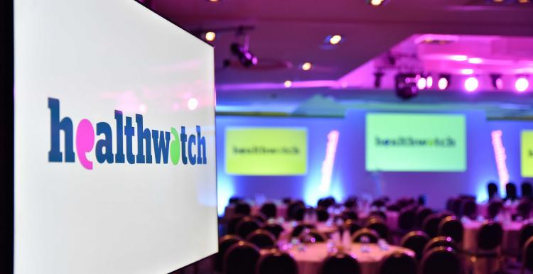 Photograph of the room set up for the Healthwatch Network Awards ceremony