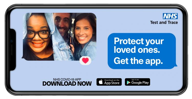 NHS test and trace app, protect your loved ones. Get the app.