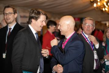 Picture of local Healthwatch staff member speaking to an MP