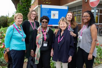 Group of Healthwatch volunteers outside a hospital