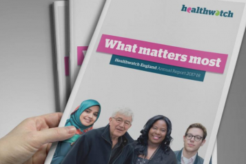 Healthwatch annual report front cover, titles 'What matters most'.